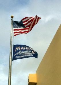 Our Marlins Ayudan Partner School flag flies!