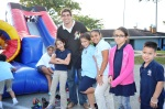 Nathan Eovaldii with Compression for Life kids at graduation party